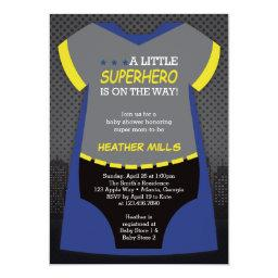 Superhero Baby Shower Invitation, Blue, Black