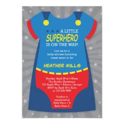 Superhero Baby Shower Invitation, Blue, Red