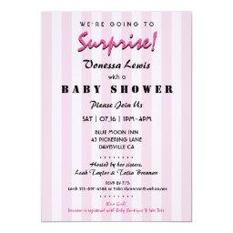 Surprise Baby Shower Pink Stripes