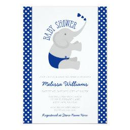 Sweet Navy Blue Gray Elephant Baby Shower