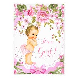 Sweet Pink Floral Rose Baby Shower Girl Blonde