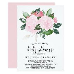 Sweet Pink Watercolor Roses Baby Shower