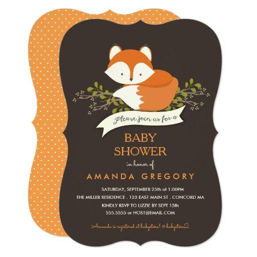 baby shower sweet woodland fox baby shower invitation