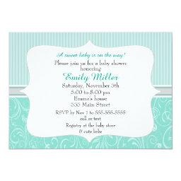 Swirl Teal Silver Baby Shower