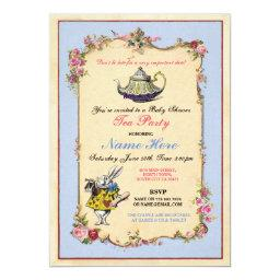Tea Party Baby Shower Blue Pink Teapot