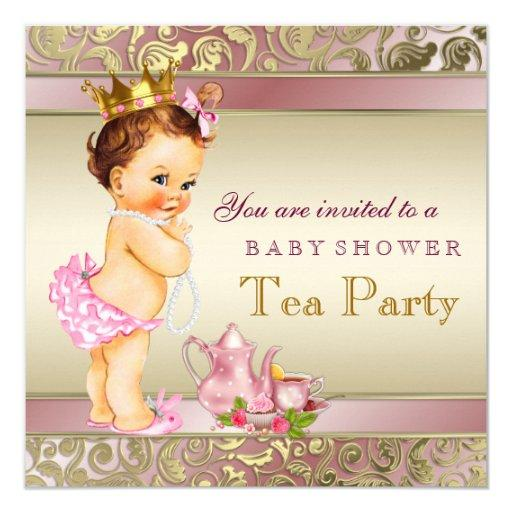 baby shower tea party baby shower pink and gold pearl card