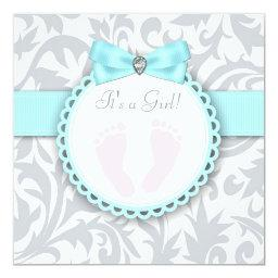 Teal Blue and Gray Footprint Baby Girl Shower