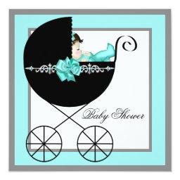 Teal Blue Baby Carriage