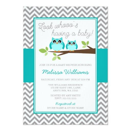 Teal Blue Owl Gray Chevron Boy