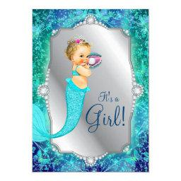 Teal Blue Silver Mermaid Under The Sea Baby Shower