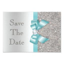 Teal Bow Diamonds Silver Save The Date