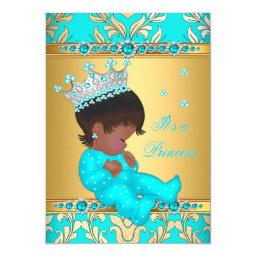 Teal Gold Pearl Princess Baby Shower Ethnic