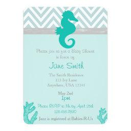 Teal Seahorse Beach Themed Baby Shower