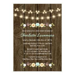 Teal String of Lights Fall Rustic Boy Baby Shower