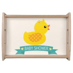 Teal & Yellow Duckling, Duck; Baby Shower Serving Tray