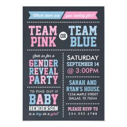 Team Pink or Team Blue Chalkboard Gender Reveal