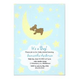 Teddy Bear and Moon  Invite - Boy