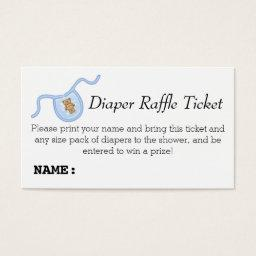 Teddy Bear Boys  Diaper Raffle Ticket