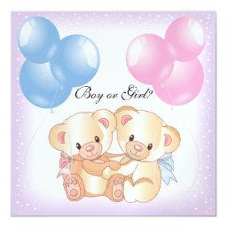 Teddy Bears and Balloons Gender Reveal Party Invit