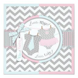 Tie or Tutu & Chevron Print Gender Reveal Party