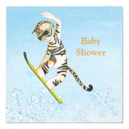 Tiger on Snowboard Baby Shower invitation