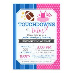 Touchdowns or Tutus Blue Pink Gender Reveal Party Invitations