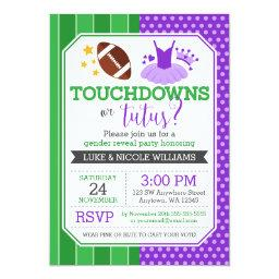 Touchdowns or Tutus Purple Gender Reveal Party