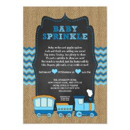 TRAIN BOY  / burlap chalkboard RUSTIC