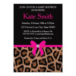 Trendy Hot Pink and Black Leopard Bow Baby Shower