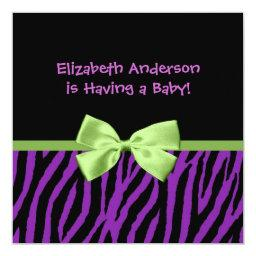 Trendy Purple Zebra Print And Ribbon