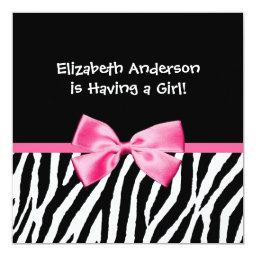 Trendy Zebra Print and Pink Ribbon Baby Shower