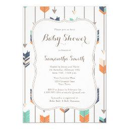 Tribal Arrows Baby Shower Navy Orange Teal