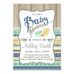 Tribal Baby Shower Rustic Baby Shower Blue Gold