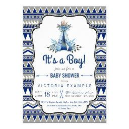 Tribal Teepee Blue Gray Boys Boho Baby Shower