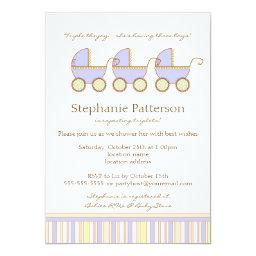 Trio Carriage Triplet Baby Boys Shower