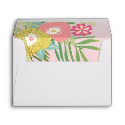 Tropical Envelope Girl Birthday Pink Gold Floral