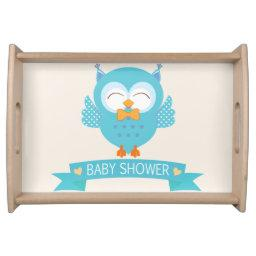 Turquoise Blue & Purple Boy Owl Baby Shower Serving Tray