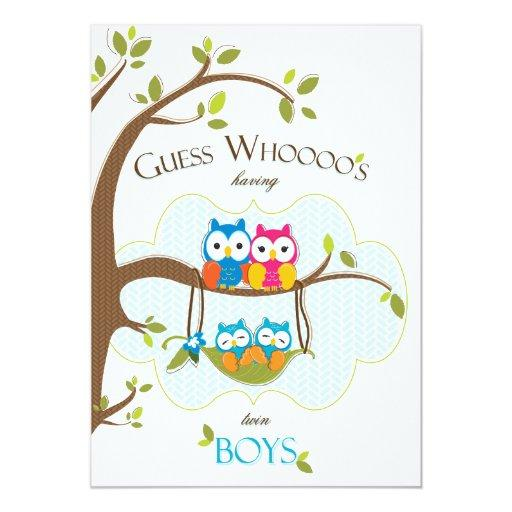 Twin Baby Boys Shower  - Owl Family