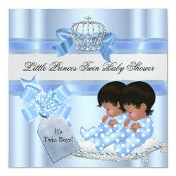 Twin Baby Shower Boys Blue Little Prince Crown 3