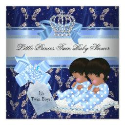 Twin Baby Shower Boys Blue Little Prince Crown