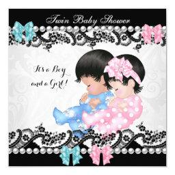 Twin Baby Shower Cute Girl Pink Boy Blue