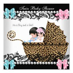 Twin Baby Shower Cute Girl Pink Boy Blue Leopard