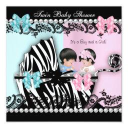Twin Baby Shower Cute Girl Pink Boy Blue Zebra 2