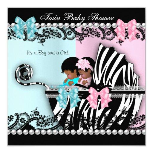 Twin  Cute Girl Pink Boy Blue Zebra 4