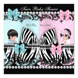 Twin Baby Shower Cute Girl Pink Boy Blue Zebra
