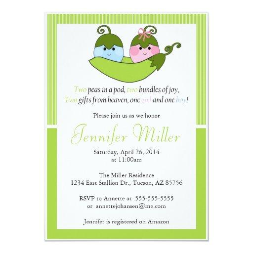 Twin  Invitation, Two Peas In A Pod