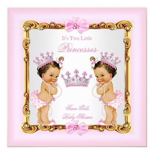 Twin Girls Princess  Gold Pink Brunette