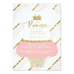 Twin Little Princesses Shower Invite, Faux Glitter