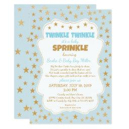 Twinkle Boy Baby Sprinkle blue gold stars invite