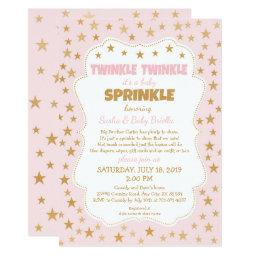 Twinkle Girl  pink gold stars invite